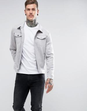 Another Influence Куртка из искусственной замши. Цвет: серый