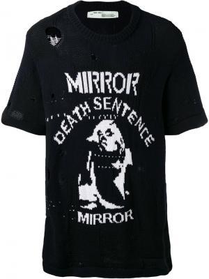 Состаренная трикотажная футболка Off-White. Цвет: чёрный