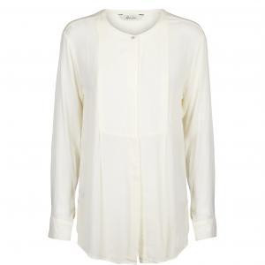 Рубашка с тунисским вырезом и длинными рукавами AND LESS. Цвет: белый