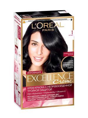 Стойкая крем-краска для волос Excellence, оттенок 1, Чёрный L'Oreal Paris. Цвет: черный