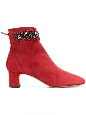 Ботинки с декоративной цепочкой Valentino. Цвет: красный