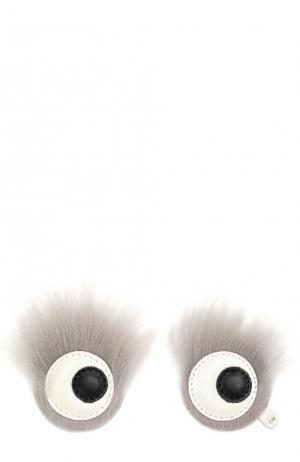 Аппликация Eyes с отделкой из овчины Anya Hindmarch. Цвет: серый