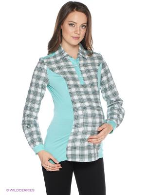 Блузка One plus. Цвет: бирюзовый
