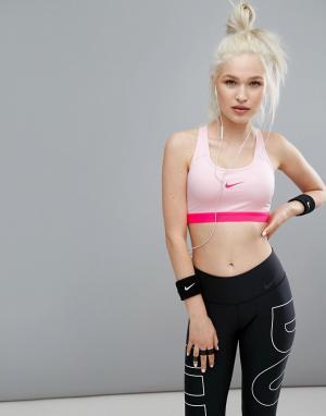 Nike Розовый спортивный бюстгальтер Pro Classic. Цвет: розовый