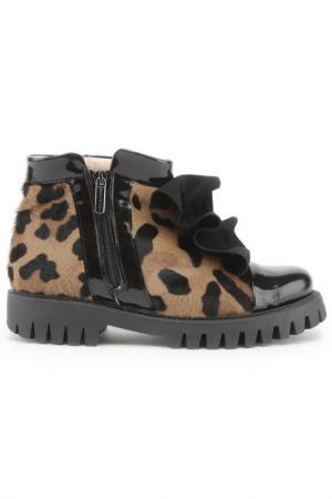 Ботинки с жабо Bouton. Цвет: леопардовый