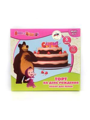 Набор тесто для лепки MULTIART Маша и медведь торт. Играем вместе. Цвет: салатовый, розовый
