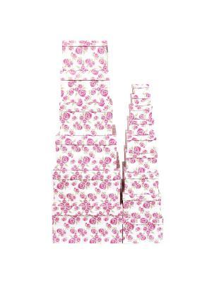 Набор из 15 картонных коробок 12*6,5*4-46,6*33*18см, Розовая графика VELD-CO. Цвет: розовый
