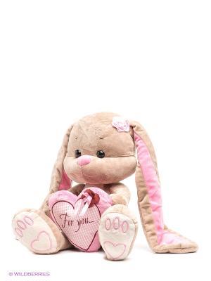 Мягкая игрушка Зайка Лин MAXITOYS. Цвет: бежевый, розовый