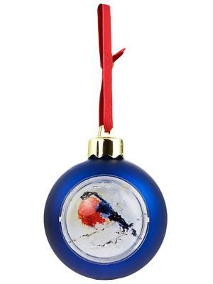 Елочный шар-шкатулка с фотовставкой Дерево Счастья. Цвет: синий