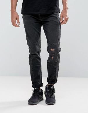 ASOS Выбеленные черные байкерские джинсы скинни с крупными молниями. Цвет: черный