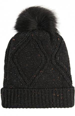 Вязаная шапка с помпоном Wildfox. Цвет: черный