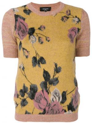 Блузка с розами Rochas. Цвет: розовый и фиолетовый
