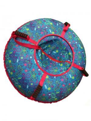 Санки-ватрушка (тюбинг) 100 см Орнамент Лужайка SPORTREST. Цвет: синий, зеленый, темно-фиолетовый, голубой, красный, желтый