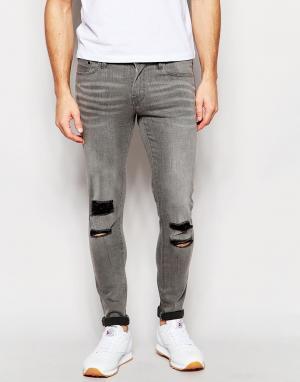 Waven Супероблегающие серые джинсы с рваными коленями Erling. Цвет: серый