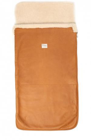 Кожаный конверт для новорожденных с отделкой из овчины Petit Nord. Цвет: светло-коричневый