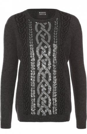 Пуловер прямого кроя с контрастной вышивкой пайетками Markus Lupfer. Цвет: черный