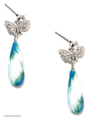 Серьги Royal Diamond. Цвет: белый, голубой, серебристый
