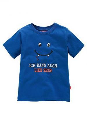 , футболка для мальчиков, «Ich kann auch lieb sein!» CFL. Цвет: синий