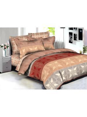 Комплект постельного белья Buenas noches Tartu из люкс сатина 2-спальный. Цвет: бордовый, бежевый, светло-коричневый