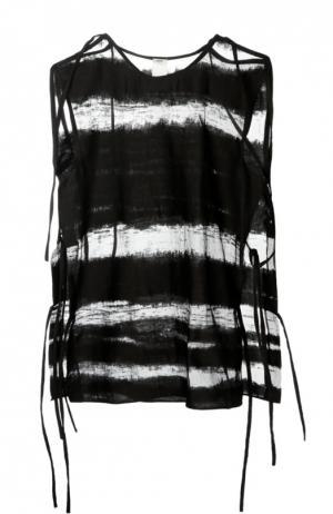 Полупрозрачный топ с декоративной шнуровкой Damir Doma. Цвет: черный