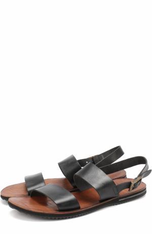 Кожаные сандалии с ремешком Uit. Цвет: черный