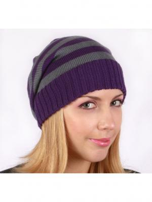 Полосатая шапка Непростые вещи. Цвет: серый, фиолетовый