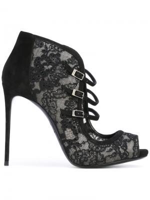 Туфли с кружевной отделкой и ремешками Le Silla. Цвет: чёрный