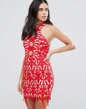 Love Triangle Кружевное платье-футляр. Цвет: красный