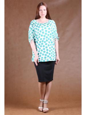 Блузка BERKANA. Цвет: белый, зеленый