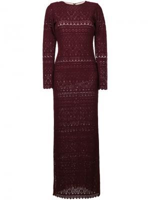 Длинное кружевное платье Alice+Olivia. Цвет: красный