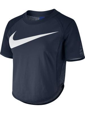 Футболка W NSW TOP CROP SWSH MSH Nike. Цвет: синий