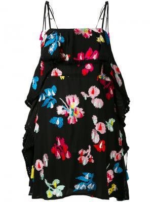 Мини-платье с вышивкой Tanya Taylor. Цвет: чёрный
