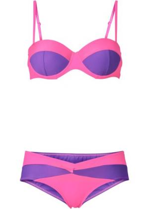 Купальный костюм бикини, чашка D (ярко-розовый неон/красная ягода) bonprix. Цвет: ярко-розовый неон/красная ягода