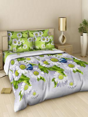 Комплект постельного белья из поплина 2 спальный Василиса. Цвет: зеленый, серый, желтый