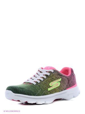 Кроссовки SKECHERS. Цвет: розовый, зеленый