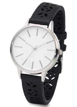 Часы на браслете с тиснением (черный) bonprix. Цвет: черный