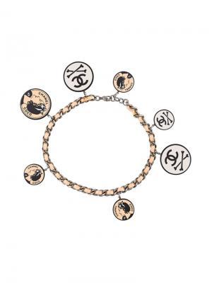 Ожерелье-чокер с круглыми подвесками Chanel Vintage. Цвет: многоцветный