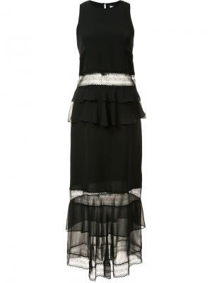 Прозрачное платье с оборками Jonathan Simkhai. Цвет: чёрный