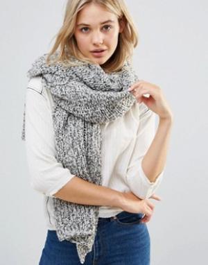 Free People Oversize-шарф крупной вязки. Цвет: серый