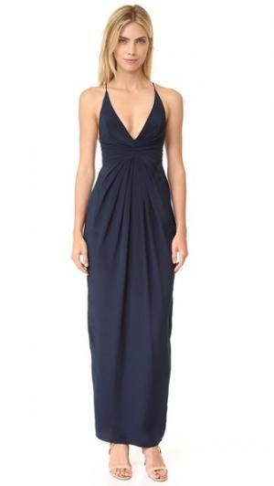 Длинное шелковое платье с перекрещенной деталью на спине Zimmermann. Цвет: французский темно-синий