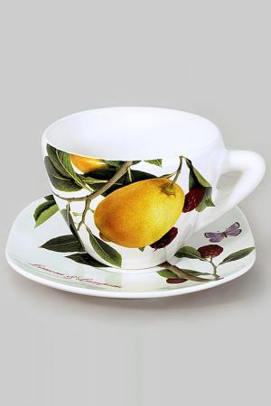 Чашка с блюдцем 0,4 л Ceramiche Viva. Цвет: мультицвет