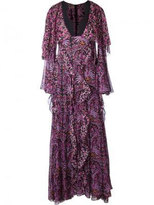 Расклешенное платье Giambattista Valli. Цвет: розовый и фиолетовый