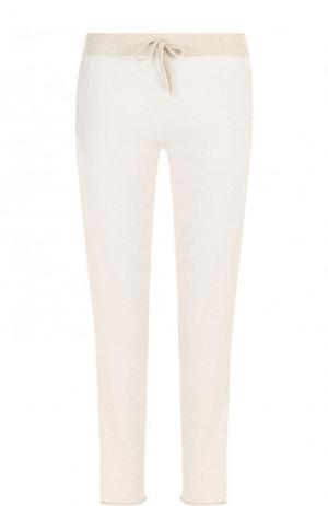 Хлопковые укороченные брюки с эластичным поясом Deha. Цвет: бежевый