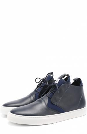 Высокие кожаные кеды на шнуровке с текстильными вставками Z Zegna. Цвет: темно-синий