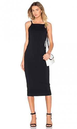 Миди платье с заниженным подолом сзади David Lerner. Цвет: черный