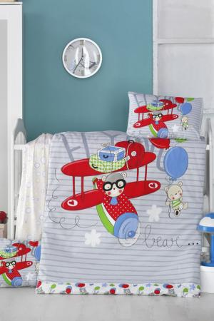 Baby Quilt Cover Set Victoria. Цвет: grey, red, blue