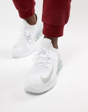 Nike Белые кроссовки Air Max 270 Flyknit AO1023-102. Цвет: белый