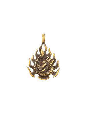 Амулет защитный Огненный дракон Aztek. Цвет: желтый