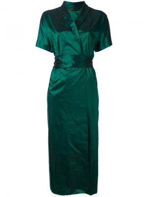 Платье с металлическим отблеском Daniela Gregis. Цвет: зелёный
