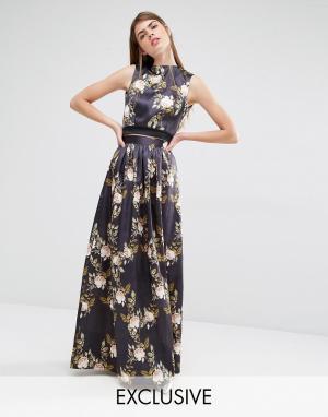 True Violet Пышная атласная юбка. Цвет: мульти